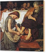 Christ Washing Peter's Feet Wood Print