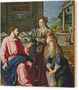 Christ With Mary And Martha Wood Print