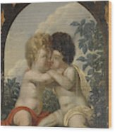 Christian Allegory With Two Children Hugging Each Other Wood Print