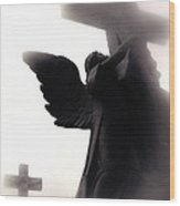 Angel With Jesus On Cross - Christian Art Cross - Spiritual Angel On Cross  Wood Print
