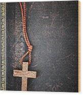 Christian Cross On Bible Wood Print