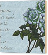 Christian Wedding Invitation With Roses Wood Print