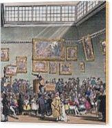 Christies Auction Room, Illustration Wood Print