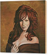 Christina Hendricks Painting Wood Print