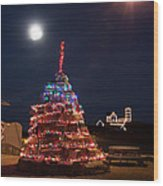 Christmas At Maines Nubble Lighthouse Wood Print