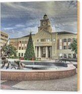 Christmas At Sugar Land City Hall Wood Print