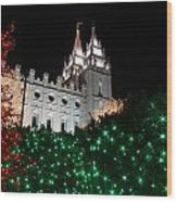 Christmas At Temple Square 12 Wood Print