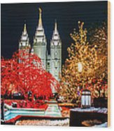 Christmas At Temple Square Wood Print