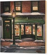 Christmas At The Bookstore Of Gloucester Wood Print