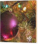 Christmas Ball Ornament Purple 1 Wood Print