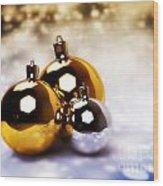 Christmas Balls Gold Silver Wood Print