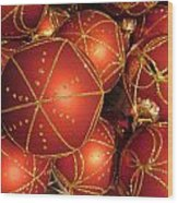 Christmas Balls In Red And Gold Wood Print