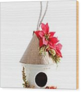 Christmas Bird House Wood Print