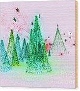 Christmas Blues And Greens Wood Print