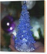 A Christmas Crystal Tree In Blue Wood Print