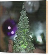 A Christmas Crystal Tree In Green  Wood Print