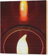 Christmas Candle Reflection Wood Print