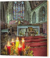 Christmas Candles Wood Print by Adrian Evans