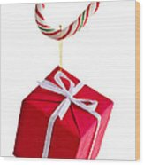 Christmas Candy Cane And Present Wood Print by Elena Elisseeva