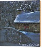 Christmas Card Moonlight On Stone House Wood Print