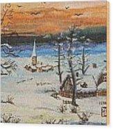 Christmas Card Painting Wood Print