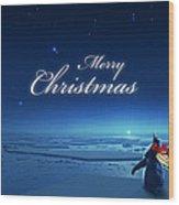 Christmas Card - Penguin Blue Wood Print