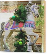 Christmas Carousel Horse With Pine Branch Wood Print