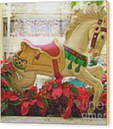 Christmas Carousel Horse With Poinsettias Wood Print