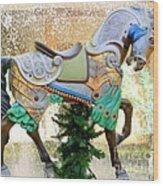 Christmas Carousel Warrior Horse-1 Wood Print