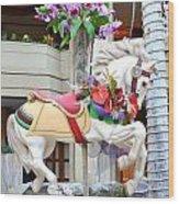 Christmas Carousel White Horse Wood Print
