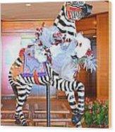 Christmas Carousel Zebra Wood Print