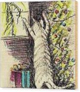 Christmas Cat Wood Print
