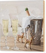 Christmas Champagne Wood Print