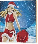 Christmas Cheerleader American Football Stadium Wood Print