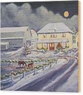 Christmas Corral Wood Print