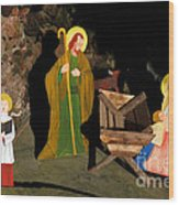 Christmas Crib Scene Wood Print