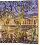 Christmas Crowd At Quincy Market Wood Print