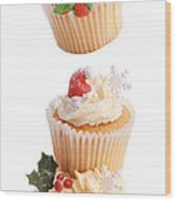 Christmas Cupcake Tower Wood Print