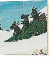 Christmas Day Scottie Style Wood Print