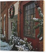 Christmas Decorations In Grants Pass Old Town  Wood Print