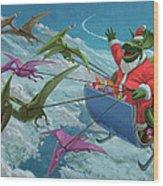 Christmas Dinosaur Santa Ride Wood Print by Martin Davey