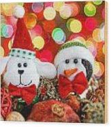 Christmas Dog And Penguin Wood Print