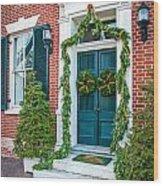 Christmas Door 6 Wood Print