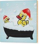 Christmas Ducks Wood Print