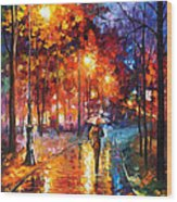 Christmas Emotions - Palette Knife Oil Painting On Canvas By Leonid Afremov Wood Print