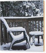 Christmas Eve Deck Chair Wood Print