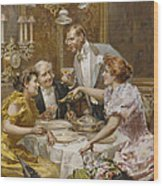 Christmas Eve Dinner In The Private Dining Room Of A Great Restaurant Wood Print by Ludovico Marchetti