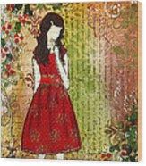 Christmas Eve Mixed Media Folk Artwork Of Young Girl Wood Print