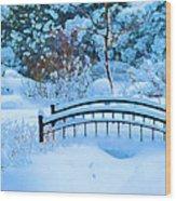 Christmas Eve Storm And The Little Garden Bridge Wood Print