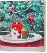 Christmas Eve Table Decoration Wood Print